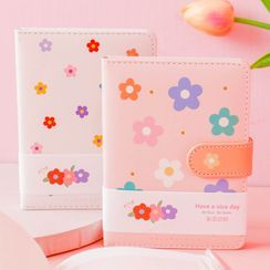 Sanzo - Floral Print Faux Leather Notebook