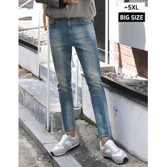 GERIO - Hidden Band-Waist Washed Straight-Cut Jeans