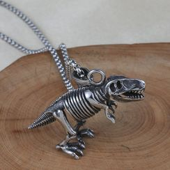 Prushia - Stainless Steel Dinosaur Skeleton Pendant Necklace