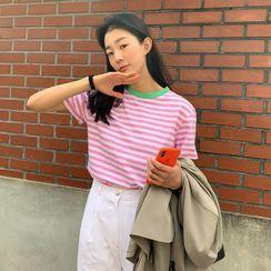 FROMBEGINNING - Ringer Striped T-Shirt