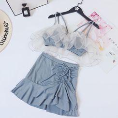 ASUMM - 套裝:荷葉坦基尼泳衣上衣 + 抽繩泳裙
