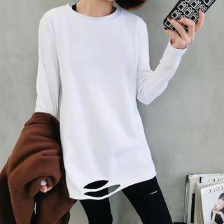 Hevnir - Long-Sleeve Ripped T-Shirt