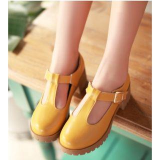 Freesia - T字带粗跟鞋