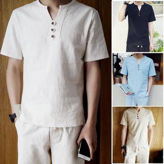YIKES(ヤイクス) - Short-Sleeve Placket T-Shirt