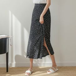 JUSTONE - Deep-Slit Long Floral Skirt