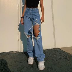 Puffie - Distressed Straight Leg Jeans