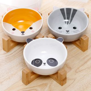 My Only Love - Animal Ceramic Pet Bowl with Wooden Stand