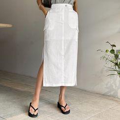 DABAGIRL - Cargo-Pocket H-Line Long Skirt