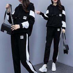 Ayibu - 套裝: 插色連帽衫 + 運動褲