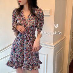 KAKAGA - Short Sleeve V-Neck Floral Chiffon Dress