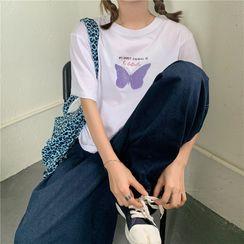 Cloud Nine - Butterfly Print Short-Sleeve T-Shirt