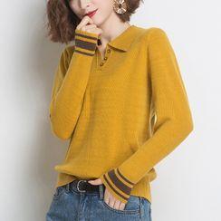 FUEMA - Two Tone Knit Polo Shirt