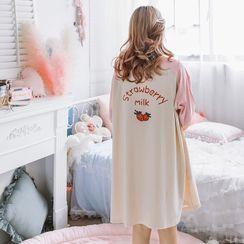 Ciambella - Long-Sleeve Strawberry Print Pajama Dress / Pants / Long-Sleeve T-Shirt / Set