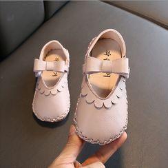 Doradas - Kids Velcro Strap Stitched Faux-Leather Flats