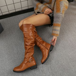 Yoflap - Faux Leather Buckled Tall Boots
