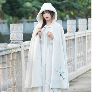 Tangier - Crane Embroidered Hooded Fleece-Line Cape