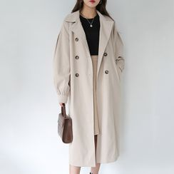 BBAEBBAE - Double-Breasted Long Trench Coat with Sash