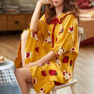 Jeony - Printed Short Sleeve Sleep Dress