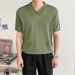 Seoul Homme - Notch-Collar Knit Top