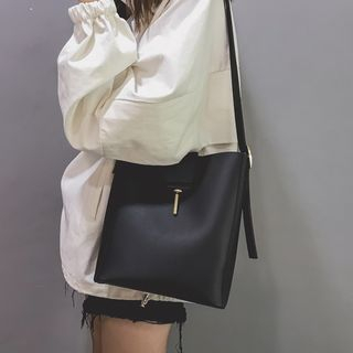 Lizzy - Faux Leather Bucket Tote Bag