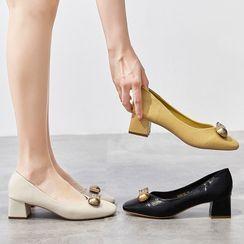 Siji - Block-Heel Embellished Pumps