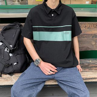 Jozev - Lettering Short-Sleeve Polo Shirt