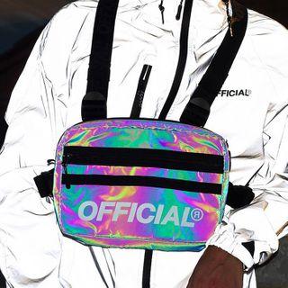 SUNMAN - Faux Leather Lettering Iridescent Belt Bag