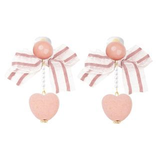 Cv Plus Design - Heart And Ribbon Drop Earring