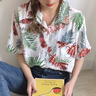 Melon Juice - Short-Sleeve Leaf Print Shirt