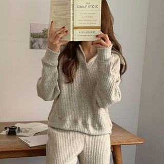 UPTOWNHOLIC - Collared Open-Placket Knit Top