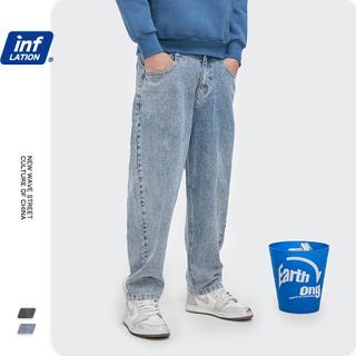 Newin - 洗水做旧宽松直筒牛仔裤