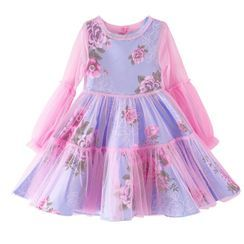 Junon - Kids Floral Long-Sleeve Party Dress