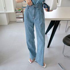 DEEPNY - High-Waist Pleated Wide-Leg Jeans