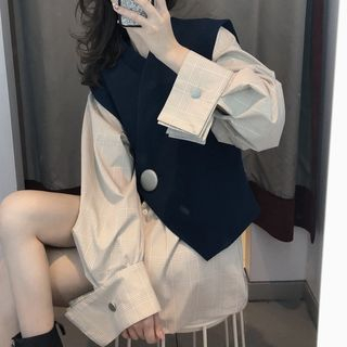 Robynn - Set: Long-Sleeve Mini Shirt Dress + One Buttoned Vest