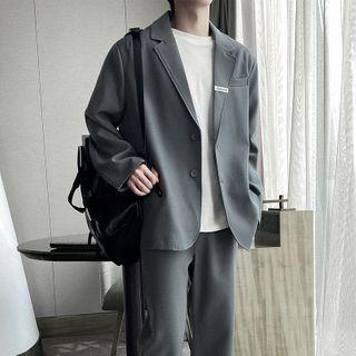 Freehop - Plain Blazer / Straight Leg Dress Pants