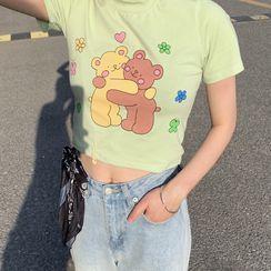 YOOKIE - 短袖熊印花T裇