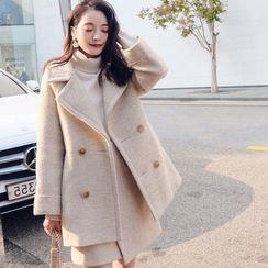 Frigga - Set: Notch Lapel Double-Breasted Coat + Mini A-Line Skirt