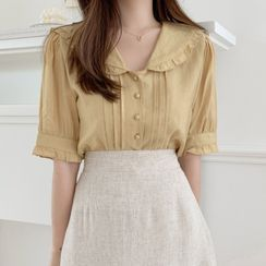 Midoray - Short-Sleeve Ruffle Blouse