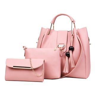 Mayanne - Set of 3: Faux Leather Chained Handbag + Pouch + Tassel Shoulder Bag
