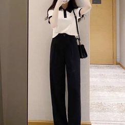 Apotheosis - Short-Sleeve Polo Shirt / Wide Leg Pants / Set