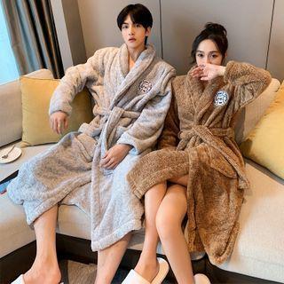Endormi - Couple Matching Embroidered Fleece Pajama Robe