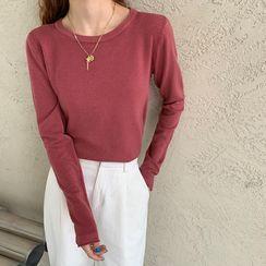 Moon City - Long-Sleeve Plain Knit Top