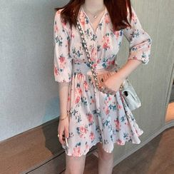 Apotheosis - Elbow Sleeve V-Neck Floral Print Chiffon Dress