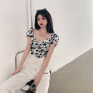 GANGER - Printed Puff-Sleeve Top / High Waist Wide Leg Pants
