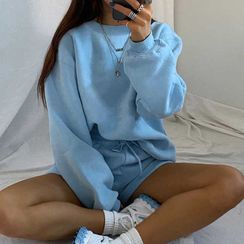 Dictynna - Set: Plain Long-Sleeve Sweatshirt + Drawstring Shorts