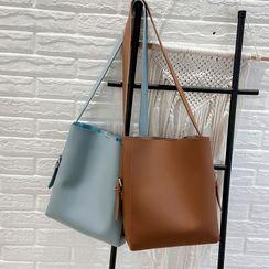 Skyglow - Set: Plain Faux Leather Tote Bag + Zip Pouch