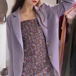 KUMI - Plain Blazer / Suspender Floral Skirt