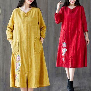 RAIN DEER - Embroidered Chinese Knot Button Long-Sleeve Medium Maxi Dress
