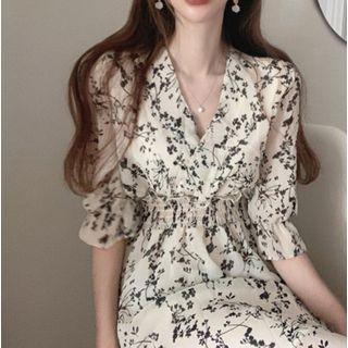 Cassidy - Elbow-Sleeve Floral Print A-Line Midi Dress