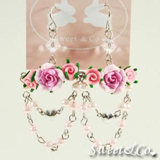 Sweet & Co. - Sweet Fuchsia Candy Chandelier Rose Earrings